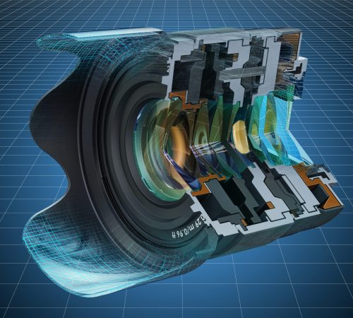 Visualization 3d cad model of sectional of camera lens, fixed focal length lens. 3D rendering