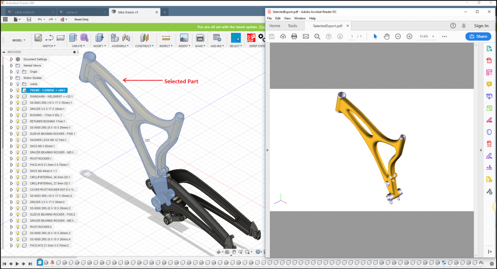 Fig. 1 Exported Model with 3DPDF Exporter for Fusion 360